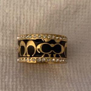 Black and Gold Signature Enamel Ring Ring Size 8